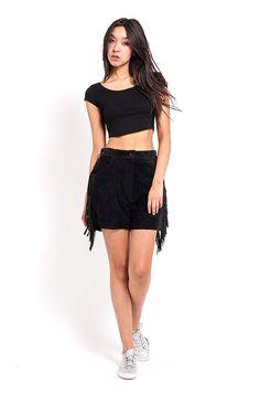 0cb8ddfd21f0c The Black High Waisted Fringe Suede Shorts