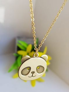Panda Bear necklace Panda Face Charm Necklace Bridesmaid Gift Dainty and Delicate Everyday Necklace Jewelry Shop, Jewelry Gifts, Handmade Jewelry, Jewelery, Jewelry Making, Panda Love, Panda Bear, Super Hero Jewelry, Panda's Dream