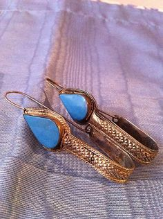 Antique Afghan Silver and Turquoise Tribal Earrings