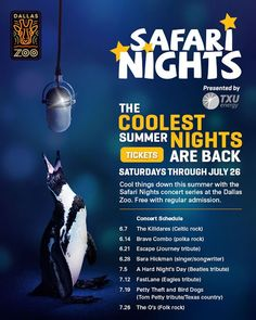 Safari Nights! Presented by the Dallas Zoo, come enjoy great music at the Dallas Zoo, free with regular admission every Saturday through July 26th.