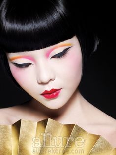 Modern geisha style makeup featured in Allure Korea with model Yisom.