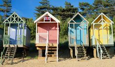 Beach huts on stilts at Wells-next-Sea in Norfolk - very expensive and trendy like Southwold!