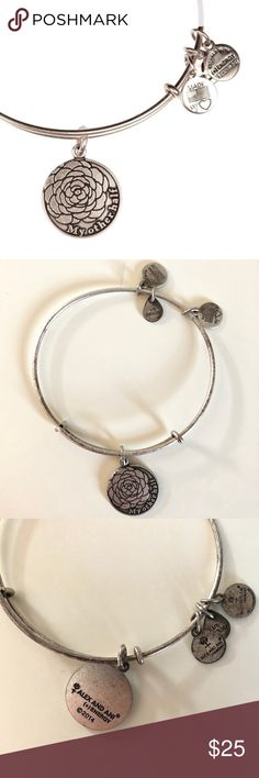 "Alex & Ani ""My Other Half"" Silver Bangle Silver toned embossed charm disc and expandable wire bangle - Approx. 2.5"" resting diameter - Approx. 0.75"" length disc - Approx. 0.5"" length charms - Materials: Rafaelian finished recycled metal - great condition - only worn once Alex & Ani Jewelry Bracelets"