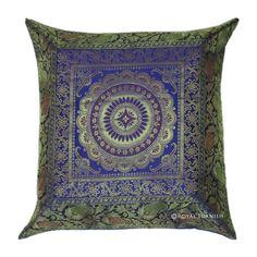 "17"" Beautiful Blue Indian Silk Brocade Throw Pillow, Toss Pillow, Cushion Cover, Decorative Pillow, Indian Pillow Cover on Etsy, $9.99"