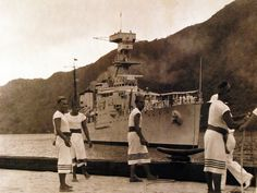 80-CF-7991-2: Fita-Fita Guards handling USS Trenton's lines at Naval Station, Tutuila, Samoa, March 31, 1938. U.S. Navy photograph, now in the collections of the National Archives.