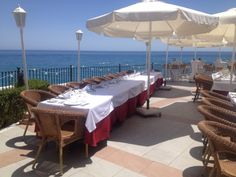 Stunning views from the terrace of Cochran's Restaurant, Nerja, a popular venue choice for wedding receptions.