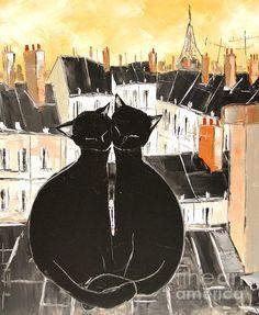 Black Cat And His Pretty On Paris Roofs by Atelier De Jiel