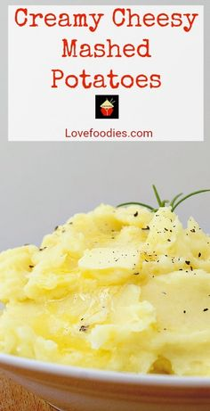 Creamy Cheesy Mashed Potatoes is a very easy side dish with amazing flavor. Make ahead, freezer friendly and great for a weeknight dinner or Thanksgiving too! Side Dishes Easy, Side Dish Recipes, Tasty Dishes, Popular Recipes, Great Recipes, Favorite Recipes, Amazing Recipes, Fall Recipes, Interesting Recipes