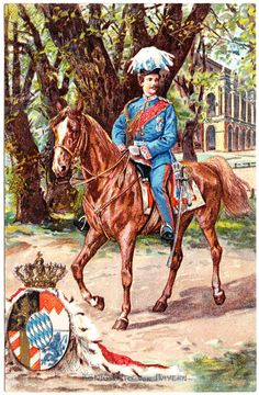 Konig Otto von Bayern on Horseback.  King Otto of Bavaria (1848-1916) was a younger brother of King Ludwig II of Bavaria (mad Ludwig).  Otto also had mental/emotional problems and upon the death of his brother King Ludwig II, was declared King of Bavaria, but unfit to rule.  His uncle Luitpold governed in his stead.