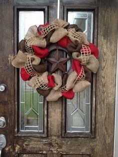 Burlap Wreath with Metal Texas star by KatysWreaths on Etsy, $60.00
