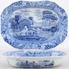 Spode  Castle  Lovely rectangular dish with rim and pattern both inside and out. Backstamp: Impressed Spode