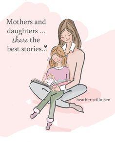 Mom and Daughter Art Story Time Art Mom by RoseHillDesignStudio