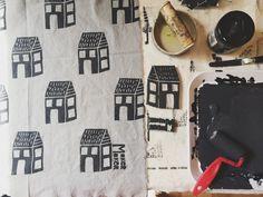 Houses Block Print Tea Towel, Sarah Golden