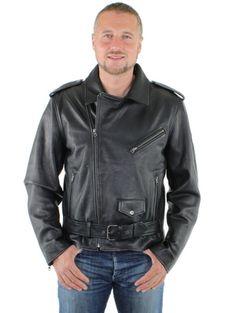 Pour un look rebel et trendy , adoptez la pièce basique indispensable au dressing masculin : le blouson cuir noir style perfecto, couleur Noir