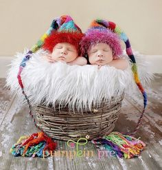 Munchkins! - Custom knit hats from MadAboutColour (via Etsy) and photo:PumpkinPiePhotography