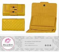 Who else just ADORES this splash of yellow? Visit your local Blush store for our wide range of stunning purses - we are bound to have one in your colour Continental Wallet, Africa, Blush, Range, Colour, Purses, Yellow, Store, Accessories