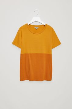 COS image 4 of Colour-block cotton t-shirt in Egg Yolk
