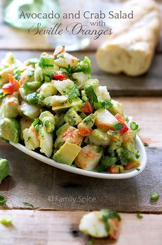 This Avocado and Crab Salad is easy to put together and tastes heavenly with Seville Oranges, bell peppers and fresh cilantro.