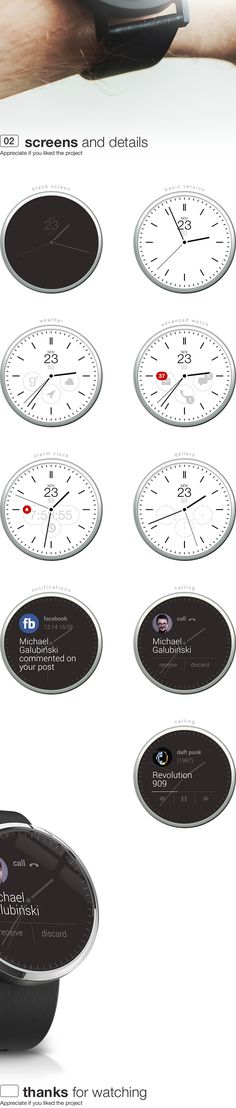 android wear concept watch app on Behance