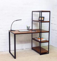 Home Desk, Home Office Space, Home Office Design, Home Office Decor, Diy Home Decor, Room Decor, Loft Furniture, Iron Furniture, Steel Furniture