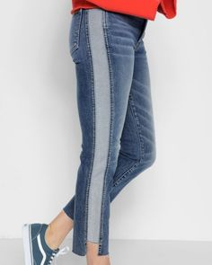 7 For All Mankind Edie With Reverse Step Side Panel In Mojave Dusk - 31 Diy Fashion, Fashion Outfits, Womens Fashion, Jeans Refashion, Skater Girl Outfits, Old Jeans, Diy Clothing, How To Wear, Clothes