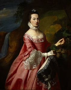 Anne Erving, Mrs Duncan Stewart, 1740 - after 1802 by John Copley Copley's portrait shows Anne Erving, the daughter of the Hon. John Erving. Erving, as governor of Boston and one of His Majesty's Council for the Province, was a prominent citizen in colonial North America. The portrait was probably painted in Boston to mark the occasion of Anne's marriage to Duncan Stewart of Ardsheal in  1767.  This portrait is owned by The Stewart Society. 18th Century Clothing, 18th Century Fashion, Art Gallery, Oil Painting Reproductions, American Artists, Les Oeuvres, Pop Art, Canvas Art, Artwork