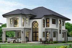 Duplex House Plans, My House Plans, Bungalow House Design, Luxury House Plans, Cottage House Plans, House Outside Design, Modern Exterior House Designs, House Construction Plan, Modern Bungalow House