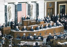 President John F. Kennedy addresses Congress in Joint Session for his first state of The Union Address in Washington, on January 31, 1961 ❤❁❤❁❤❁❃❤❁❤✾❤✾❤❁❤❃❤ http://en.wikipedia.org/wiki/John_F._Kennedy