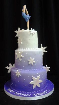 images about Cake ideas on - Birthday Cake Vanilla Ideen Gymnastics Birthday Cakes, Themed Birthday Cakes, Birthday Cake Girls, Themed Cakes, Happy Birthday, Gymnastics Party, 9th Birthday, Ice Skating Cake, Ice Skating Party