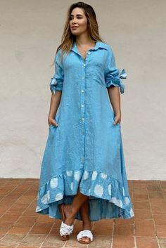 Long Shirt Outfits, Maxi Outfits, Chic Outfits, Fashion Outfits, Latest African Fashion Dresses, Latest Dress, Sunmer Dresses, Linen Dress Pattern, Kaftan Designs