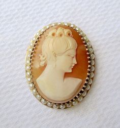Italian cameo jewelry enormous italian hand carved shell cameo vintage victorian style 14k yellow gold pearl framed carved shell cameo pendant brooch rare left facing profile a beautiful gold cameo pendant and or aloadofball Image collections