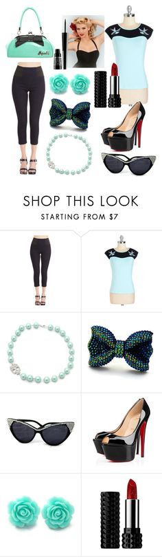 """""""Rockabilly Aqua and Black"""" by juicylucyllc ❤ liked on Polyvore featuring Retrò, Christian Louboutin, Paul Mitchell, Kat Von D, Lord & Berry and rockabilly"""