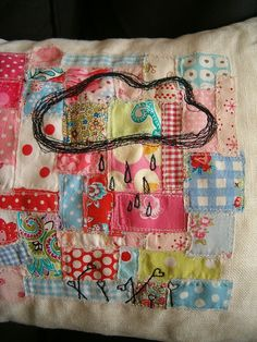 patchwork and thread sketching Fabric Crafts, Sewing Crafts, Sewing Projects, Scrap Fabric, Patch Quilt, Applique Quilts, Free Motion Embroidery, Cross Stitch Embroidery, Quilting