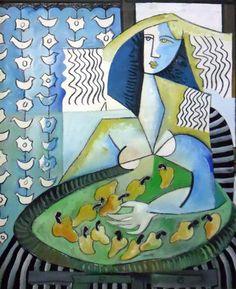 Vendedora De Cajus - Cashew Nut Woman Vendor 1987 45x37 by Jesus Fuertes, Original Painting, Oil on Canvas