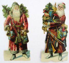Vintage Father Christmas   Two Die Cut Father Christmas Scraps - Santa Claus