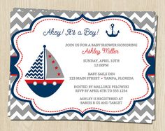 Nautical Chevron Baby Shower Invitations for Boys in Gray, Navy, Red, Boat, Ahoy Its a Boy, FREE Shipping, Set of 10 Invites and Envelopes