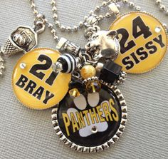 Personalized Sports Mom necklace- Baseball Mom, Football, Basketball Mom, Cheer Mom- Team Colors - Bulldog, Mascot, Panthers, Baseball, Swim. $34.00, via Etsy.