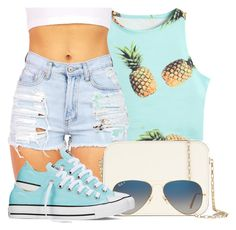 """""""Pineapples x Summer"""" by bria-queen-ovoxo ❤ liked on Polyvore featuring Valextra, Ray-Ban and Converse"""