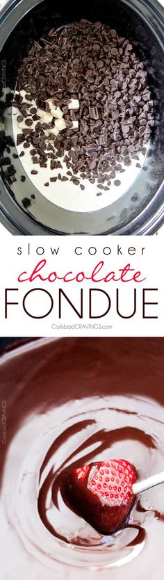 Slow Cooker Chocolate Fondue - EASY, velvety chocolate is the perfect make ahead party or special occasion appetizer or dessert. Perfect for Valentine's Day, baby/bridal showers, girls night, movie night or just because!