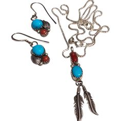 Vintage Sterling Silver Native American Turquoise Oxblood Feather Pendant Necklace & Earrings