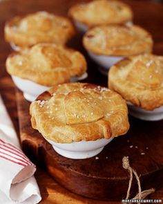 Mini Savoury Pies; portable and delicious (over 60 savoury pies and tarts if you open this link)! Chicken and Artichoke-Heart pie shown here.