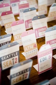Adventure or travel themed wedding use tickets for escort cards