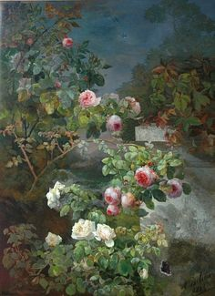 lorilynn15:  Alexandre Debrus Roses and Butterfly Near a Garden Wall 1883