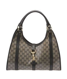 Gucci Jackie O Black GG Crystal Coated Canvas & Leather Hobo