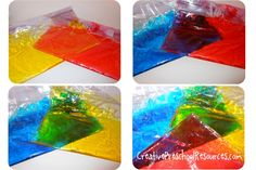 Color mixing experiment using corn syrup, food coloring and ziplock bags