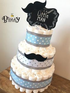 Boy Diaper Cake, Blue and Gray Diaper Cake, Little Man Diaper Cake, Boy Baby Shower, Shower Centerpiece, Boy Diaper Cakes by BuzzyDiaperCakes on Etsy https://www.etsy.com/listing/268834901/boy-diaper-cake-blue-and-gray-diaper