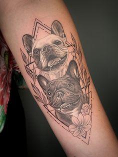 Bone Tattoos, Body Art Tattoos, Girl Tattoos, French Bulldog Tattoo, French Tattoo, Animal Lover Tattoo, Animal Tattoos, Animal Mandala Tattoo, Dog Portrait Tattoo