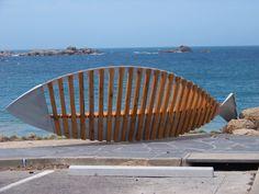 Port Elliot public seat outside seafood restaurant • Encounter Bay, South Australia, Adelaide's beaches