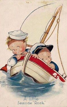 Béatrice Mallet card Boys in a boat Illustration Mignonne, Cute Illustration, Vintage Greeting Cards, Vintage Postcards, Vintage Pictures, Vintage Images, Rock Couple, Illustrations Vintage, Art Mignon