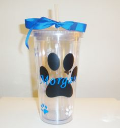 16 ounce personalized paw print double wall acrylic tumbler with lid and straw (many options available)